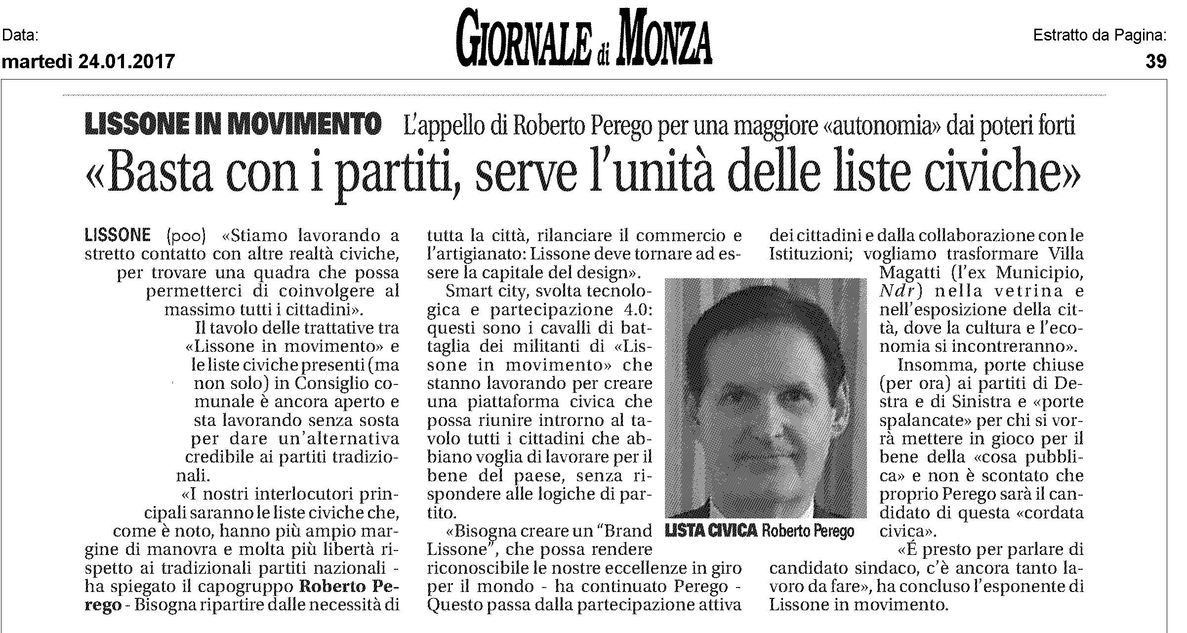 Giornale di Monza 25-1-2017